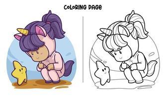 unicórnio cosplay com uma pequena página para colorir de estrela