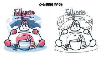 unicórnio cheio comer muita página para colorir vetor