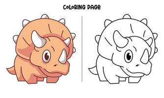 página para colorir de triceratops laranja fofa vetor