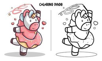 página para colorir de unicórnio doce dançarino vetor