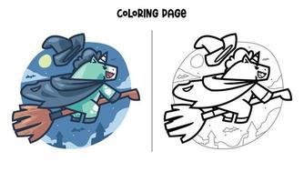 página para colorir de bruxa unicórnio voando na noite vetor