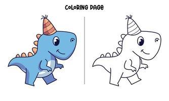 sua página para colorir de aniversário de dinos azuis vetor