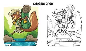 página para colorir de esquilos pulando no rio vetor