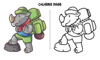 página para colorir de rinoceronte aventura vetor