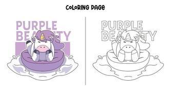 página da beleza do unicórnio em roxo para colorir vetor