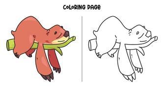 página para colorir de preguiça dormindo na árvore vetor