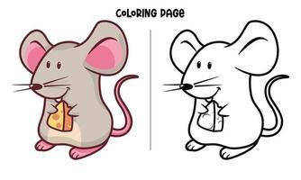 mouse e página para colorir de queijo vetor