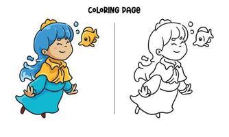 página para colorir de princesa azul com um peixinho vetor