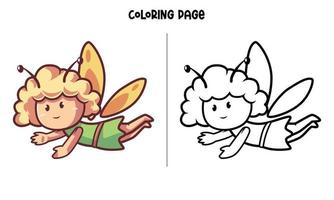 página para colorir de fada voadora fofa vetor