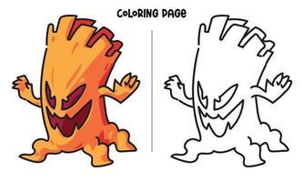 página para colorir de monstro de árvore assustador vetor