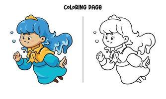 página para colorir princesa azul brincando com bolhas vetor