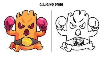 página para colorir o rei do boxe vetor