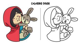 o capuz vermelho abraçou a página para colorir do coelho vetor