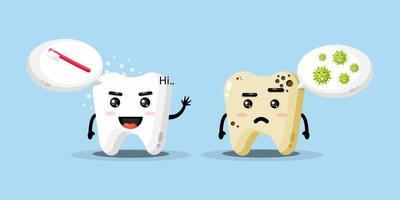 mascote fofo limpa dentes e cáries vetor