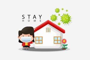 ficar em casa conceito ilustração design vetor