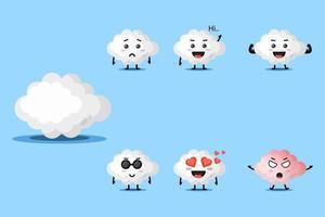 conjunto de design de mascote de nuvem fofo vetor