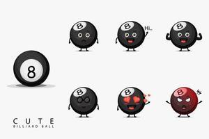 Conjunto de mascote de bola de bilhar fofo vetor