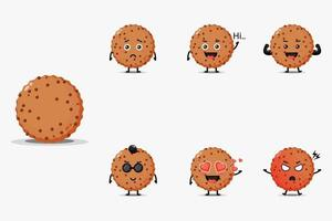 Conjunto de design de mascote de biscoito de chocolate fofo vetor