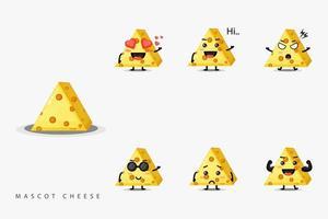 conjunto de queijo mascote de design fofo vetor