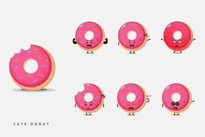 Conjunto de mascote de rosquinha fofa vetor
