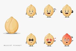Conjunto de design de mascote de amendoim fofo vetor