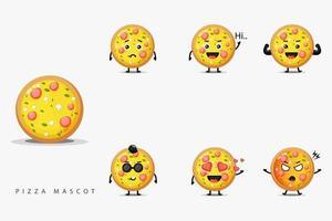 conjunto fofo de mascote de pizza vetor