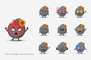 conjunto de bombas de personagens fofas vetor