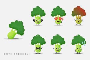 conjunto de mascotes vegetais de brócolis fofos vetor