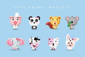 conjunto de mascote animal fofo vetor