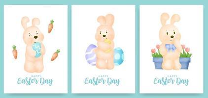 cartão de dia de Páscoa com coelho fofo e ovo de Páscoa.