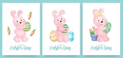 cartão do dia de Páscoa com coelho fofo e ovo de Páscoa.