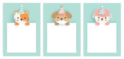 conjunto de cartões de aniversário com animais fofos. vetor