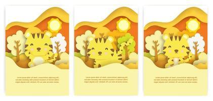 cartões de chuveiro de bebê com cutetiger no estilo de corte de papel de floresta de outono. vetor