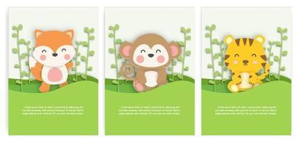 conjunto de cartões de aniversário com giro raposa, macaco e tigre na floresta em estilo de corte de papel. vetor