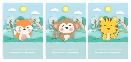 conjunto de cartões de aniversário com raposa fofa, macaco e tigre na floresta em estilo de corte de papel. vetor