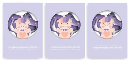 conjunto de cartões do chuveiro de bebê com lindo unicórnio. vetor