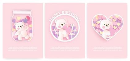 conjunto de cartões do chuveiro de bebê e cartões de aniversário com urso fofo. vetor