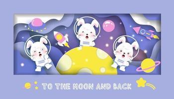 cartão de chá de bebê com coelhos fofos na galáxia vetor