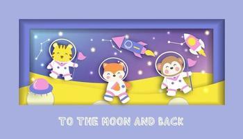 cartão de chá de bebê com animais fofos em pé na lua vetor