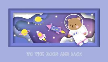 um cartão de banho com um ursinho fofo em pé na lua vetor