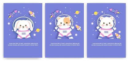 conjunto de cartões de chá de bebê com animais fofos no espaço vetor