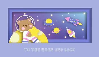 cartão de chá de bebê com fofo urso de pelúcia em pé na lua vetor