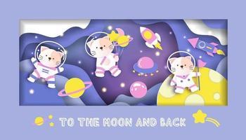 cartão de chá de bebê com gatos fofos na galáxia vetor
