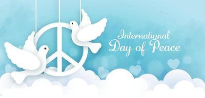 dia internacional da paz em estilo de corte de papel. vetor