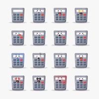 calculadora fofa com conjunto de emoticons vetor