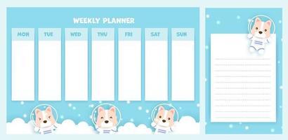 planejador semanal com cachorro corgi fofo vetor