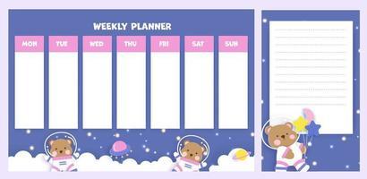 planejador semanal com urso fofo no espaço vetor
