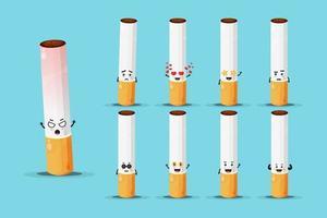 conjunto de desenho de mascote cigarro fofo vetor