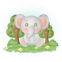 elefante fofo aquarela na floresta. vetor