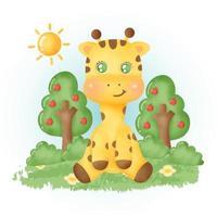 aquarela girafa bonita na floresta. vetor